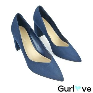 Marc Fisher Blue Fabric Caitlin Pointer Toe Pumps
